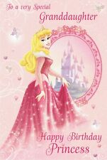 Special GRANDDAUGHTER  - DISNEY PRINCESS - BIRTHDAY CARD with a Little sparkle