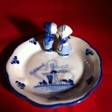 Dutch Delft Blue Porcelain Hand painted Saucer Kissing Boy/Girl
