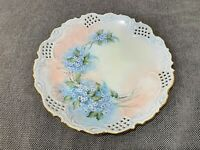 Antique Reticulated Porcelain Cabinet Plate w/ Bluish White Flowers K. Connor