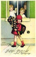 Schule, Einschulung, Mädchen mit Schultüte, sign. Fritz Baumgarten, ca. 20er/30