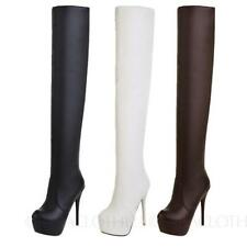 Over Knee Slim Heel Synthetic Boots for Women