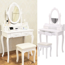 White Dressing Table Vanity Makeup Desk with 4 Drawers Mirrors Stool make Up Tab