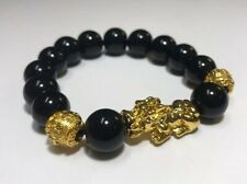 Gold Pixiu Pi Yao Beaded Bracelet Feng Shui Chinese Black Onyx Stone and