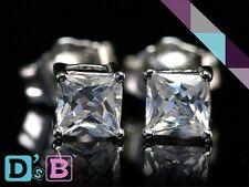 Glowing Square Shape 925 Sterling Silver CZ Stud Earring .925 Jewelry