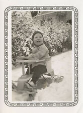 Small Boy on Toy Pedal ? Car in Snow Original Real Photo 1940