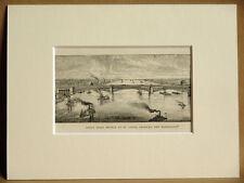 ST. LOUIS BRIDGE MISSISSIPPI USA ANTIQUE ENGRAVING FROM 1876 VINTAGE PUBLICATION