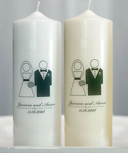 Bride and Groom Couple Personalized Unity Candle Ceremony Wedding Candles