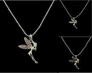 SILVER TONE PINK, RED OR CLEAR TINKERBELL FAIRY RHINESTONE CRYSTAL NECKLACE