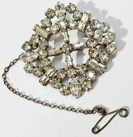 broche bijou ancienne déco relief cristaux diamant solitaire navette * 5101