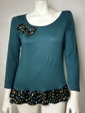 NWT Ladies Mamatayoe Teal & Polka Dot Bow Top Size L Made In Portugal