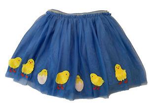MINI BODEN Blue Chicks Egg Tulle Skirt Girl's Sz 7 8 Y Flowers Lined Spring