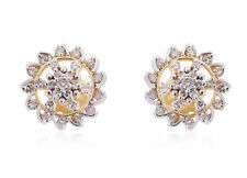 1.10 Cts Round Brilliant Cut Diamonds Stud Earrings In Solid 18Karat Yellow Gold