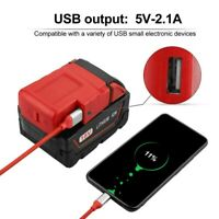USB Ports Battery Charger Adapter Converter for Milwaukee 49-24-2371 M18