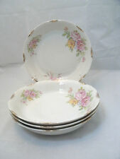 """Vintage Warwick ROSEMONT #990 4-7 5/8"""" Coupe Soup Bowl USA Retired Floral Gold"""