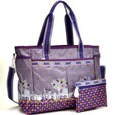 New Women Nylon Satchel Tote Bag Handbag Shoulder Bag w/ Small Organizer Bag