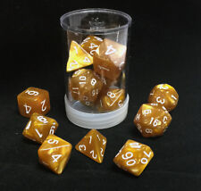 Polyhedral 7 - Die Max Pro Premium Dice Set - Pearl Caramel with White MX