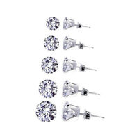 April Birthstone 3mm to 7mm Round Clear CZ 925 Sterling Silver Stud Earrings Set
