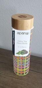 Apana Detox Tea Glass Bottle multicolor Bamboo Lid 18 oz