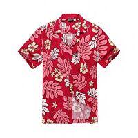 Men Tropical Hawaiian Aloha Shirt Cruise Luau Beach Party Red Pink Leaf Floral