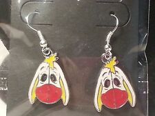 White & Red Winnie The Pooh's Eeyore Donkey Hook Earrings - Fashion Jewelry
