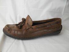 Nordstrom Brown Leather Deck Boat Shoe Men 9 M Slip On Loafer Moc Toe Distressed
