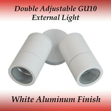 2 Light Double Adjustable IP65 GU10 External Wall Light in White