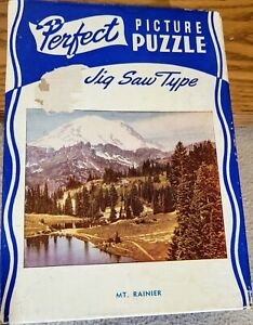 "Vintage 1930s Perfect Picture Puzzle ""Mt. Rainer"" #15W COMPLETE"