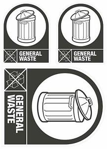 Self Adhesive Bin It Weatherproof Recycling 'General Waste' Sticker In/Outdoor