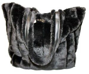 VICTORIA'S SECRET NEW Extra Large Black Acrylic Fur Tote Bag 11140760
