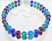 Kette LAMPWORK Silberfolie  MURANO ART blau teal smaragd lila Edelstahl  208i