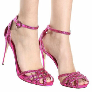 Womens Rhinestones Silk High Heels Ankle Strap Open Toe Sandals Party Stilettos