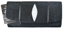 Authentic Stingray Skin Women's Clutch Bag W/Strap Black Handbag