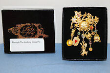 Kirks Folly VERY RARE Alice in Wonderland Cheshire Cat Charm Signed Pin + Box