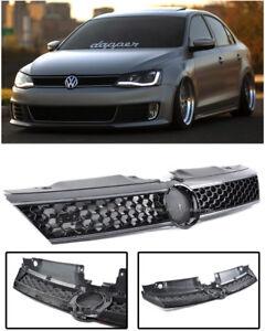 For 11-14 VW Jetta MK6 GLI Style Front Bumper Glossy Black Chrome Trim Grille