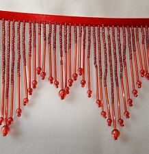 "SALE 1 yard Red 4"" GLASS beaded fringe trim, with 1 1/4"" bugles.  #404"