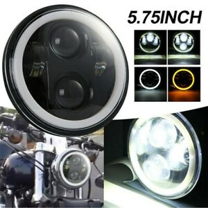 "5-3/4"" 5.75"" Projector Headlight Halo DRL LED Light for Harley softail Sportster"