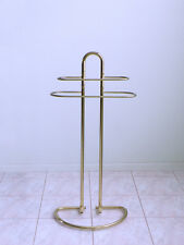 vtg midcentury modern ATOMIC brass bathroom spa DECO towel stand rack holder