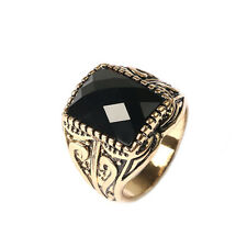 New Men Square Precious Stones Rings Big Black Antique Silver Golden Lovers For