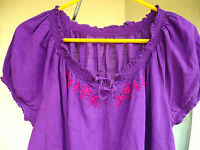 DEEP PURPLE SZ L BOHO EMBROIDERED SMOCKED COTTON BLN PEASANT HIPPIE BLOUSE WOMEN