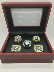 5 Pcs Miami Dolphins Super Bowl Championship Ring Set with Wooden Display Box