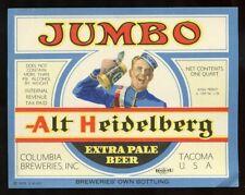 IRTP Era ALT HEIDELBERG Jumbo (Quart) Beer Bottle Label TACOMA Washington 1935