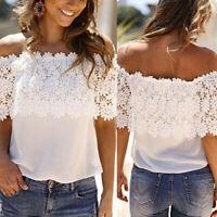 Women's Off Shoulder Casual Lace Tops Crochet Chiffon Blouse Shirt Plus Size US