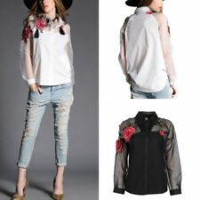 Womens Flower Embroidery Long Sleeve Organza Tops T Shirt Vintage Fashion Blouse