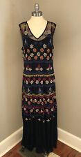 Sundance Catalog Embroidered Black Mesh Lace Sleeveless Maxi Dress Slip XL Boho