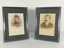 Antique Married Couple Cabinet Card Photo Framed Set Cumberland MD Man Woman