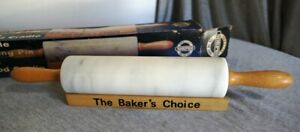 """Vtg Norpro The Baker's Choice Polished Marble Rolling Pin w Wood Cradle 18"""" CC10"""