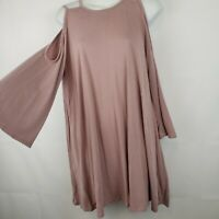 Nordstrom Bp Pink Shift Dress Cold Shoulder Nwt Size XS Stretch Flare Sleeve