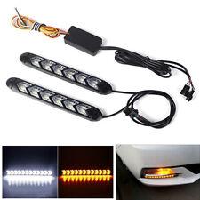 Pair 6LED Flowing Light Strip Daytime White DRL Amber Turn Signal Lamp Bar 6W