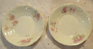 "TWO Vintage Johnson Bros. Butter Pat Royal Semi Porcelain Pink Floral England 3"""