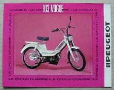 PEUGEOT 103 VOGUE MOPED 50cc Sales Specification Leaflet Mid 1980s FRENCH